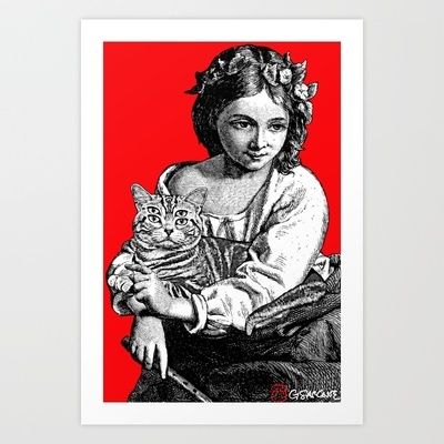 Young Girl with Cat Art Print by Gianni Sarcone. Take a tour through Sarcone's gallery: http://society6.com/GianniSarcone/