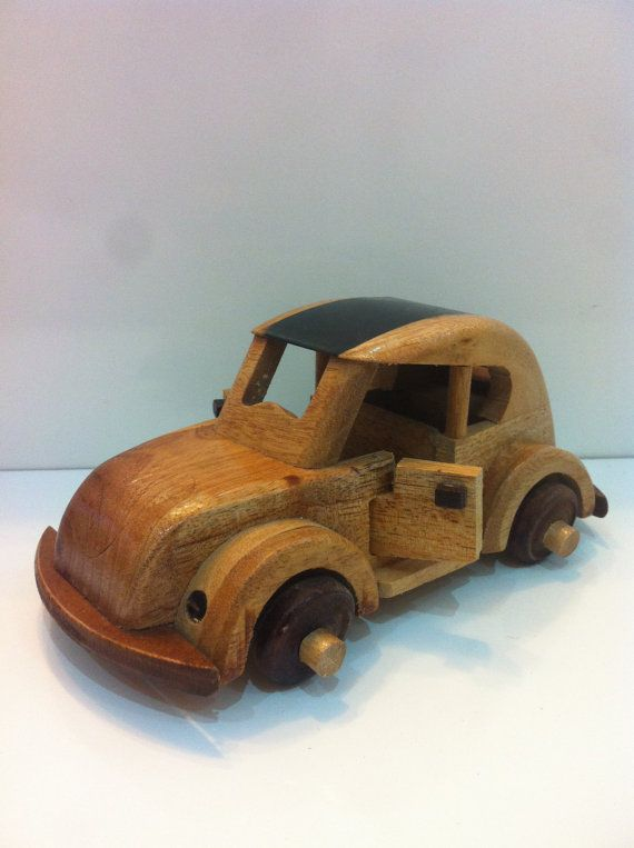 Decorative Wooden Volkswagen Car  Handmade Vintage by MrGeppettoys