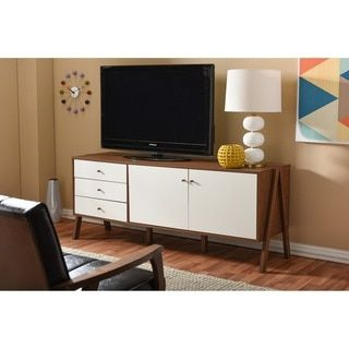 Baxton Studio Harlow Mid-century Modern Scandinavian Style White and Walnut Wood Sideboard Storage Cabinet | Overstock.com Shopping - The Best Deals on Buffets