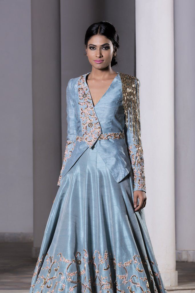 83a0ca831cf83 Ice Blue hand embroidered trail lehenga with a jacket set. Fabric  Raw Silk  Care  Dry Clean Only