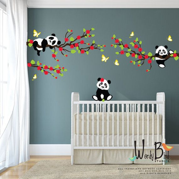Pandas wall decals with Cherry Blossom Branches and Butterflies, reusable kids wall decals, nursery decals