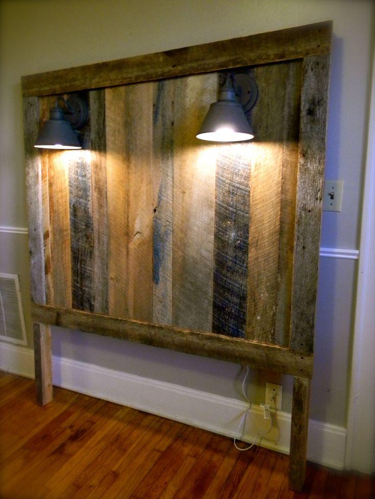 Barnwood headboard w lighting gage collection for Rustic headboard with lights