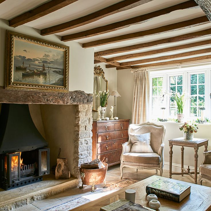 English cosy combined with elegant French.  get new window panes, timbers on ceiling, fireplace and its this