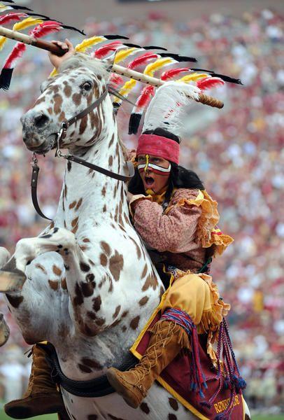 Florida State Seminoles mascot Chief Osceola rears the horse Renegade during a game earlier this season at Doak Campbell Stadium. (Melina Vastola-USA Today Sports)