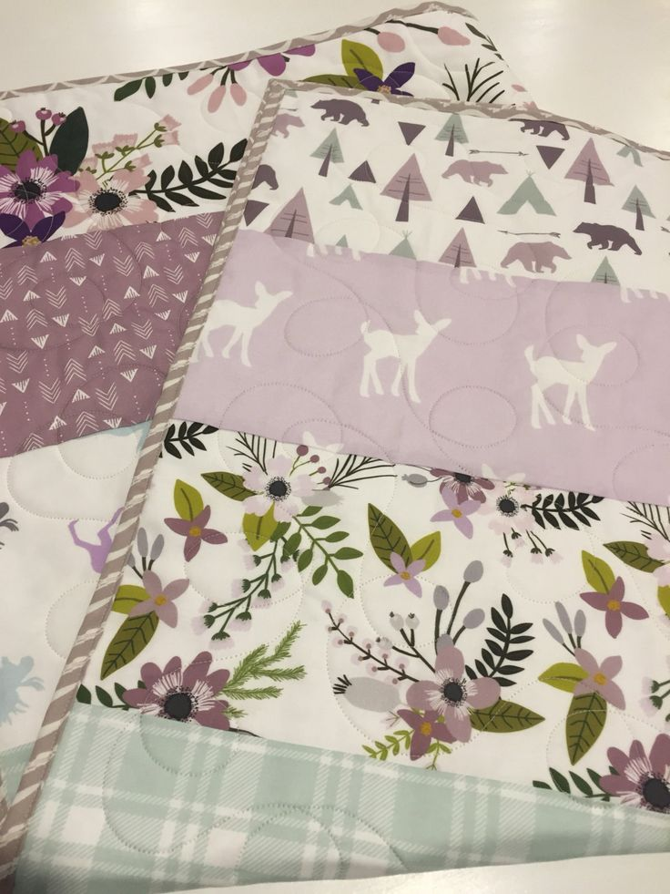 Lavender And Mint Woodland Baby Quilt, Baby Girl Bedding, Moose Fawn Bear,  Lavender