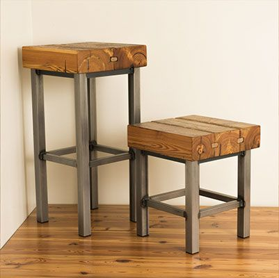 Mill Towne Collection - Reclaimed wood heart pine bar and gathering stools. With natural steel and clear powder coat finish.
