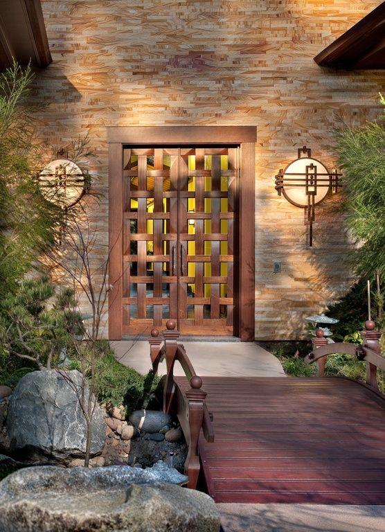 Asian Front Door with Wooden garden bridge, Eldorado Stone Golden Oak LedgeCut33, Pathway, Borano Sapporo Basketweave Door