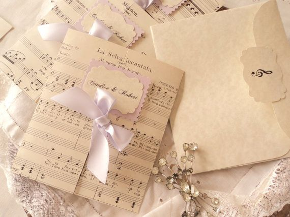 Invitations with antique sheet music