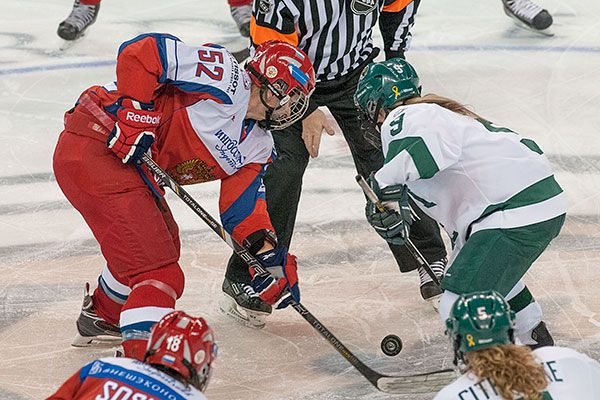 The Bemidji State women's hockey team faces the Russian National Team Nov. 27, 2013 in exhibition play. Russia won, 5-4, in overtime. Check out the rest of our photo gallery: http://www.bsubeavers.com/whockey/photos/2013-14/449/