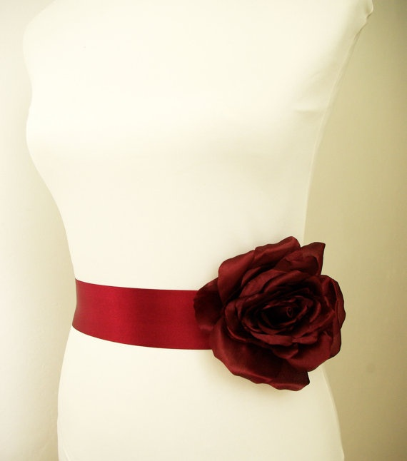 Burgundy Red Bridal Sash. Fall Wedding Sash. Burgundy red rose flower sash belt by Nia Person