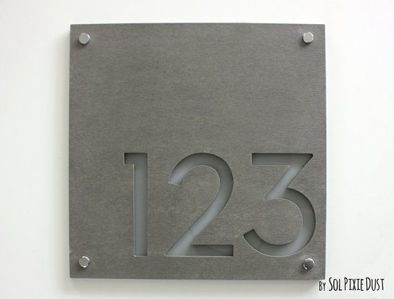 Modern House Numbers, Square Concrete with Gray Acrylic - Contemporary Home Address -Sign Plaque - Door Number