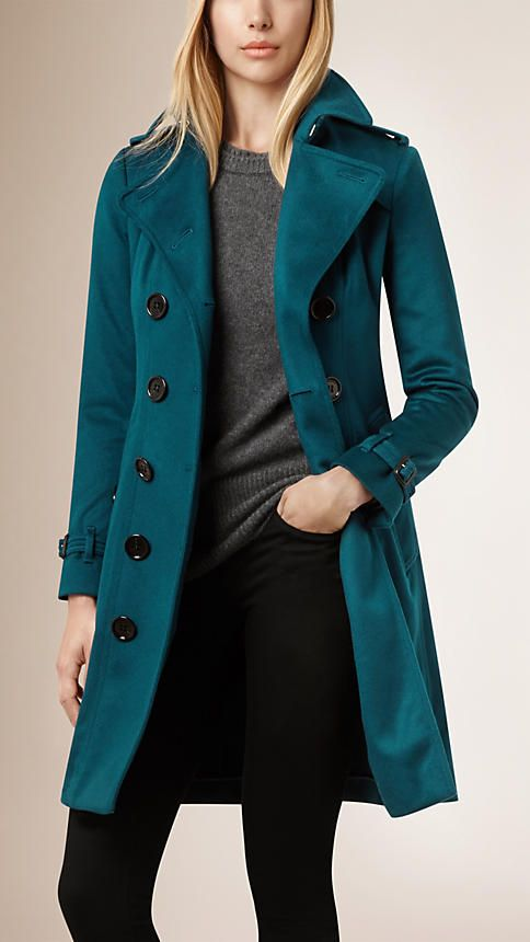 Timeless Sandringham Fit Cashmere Trench Coat in 'Teal' (13 Other Colours Available, Each With Matching or Co-ordinating Cashmere Sweaters, Sold Separately), $2,595 - Burberry