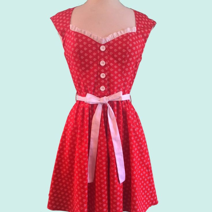 Loving this Red Polka Dot Pocket Sweetheart Dress on