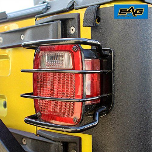 E-Autogrilles 87-06 Jeep Wrangler TJ/YJ Black Textured Off Road Taillight Tail Light Guards Steel Protector (51-0010):   Fitment:1987-2006 Jeep Wrangler TJ YJ Item Included: 1 Pair Steel Tail Light Guard Materials:304 Stainless Steel Color:Black Installation: Bolt-on Features: /b * Protect and upgrade the look of your wrangler. * These taillight guards are 304 stainless steel construction,.Black powder coat for corrosion protection and durability. * Easy to install. Protect your tailli...