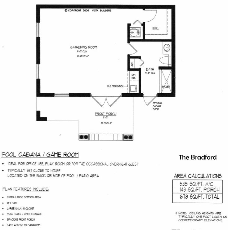Bradford pool house floor plan new house pinterest for House plan with swimming pool