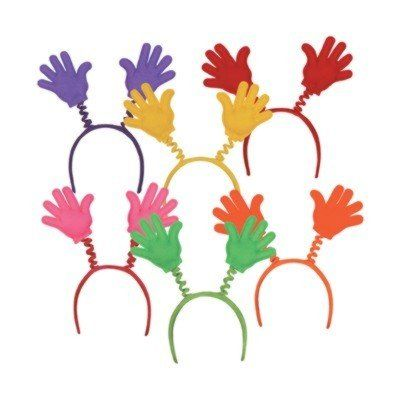 ilovetoparty.com - Soft-Touch Hi-Five Boppers - assorted colors - with snap-on headband (12) - Packages per pack: 12 (1 per package) asstd colors w/snap-on headband Theme: GENERAL OCCASION - stickers, Christmas Character, New Years Party Assortments, leis, printed garland,
