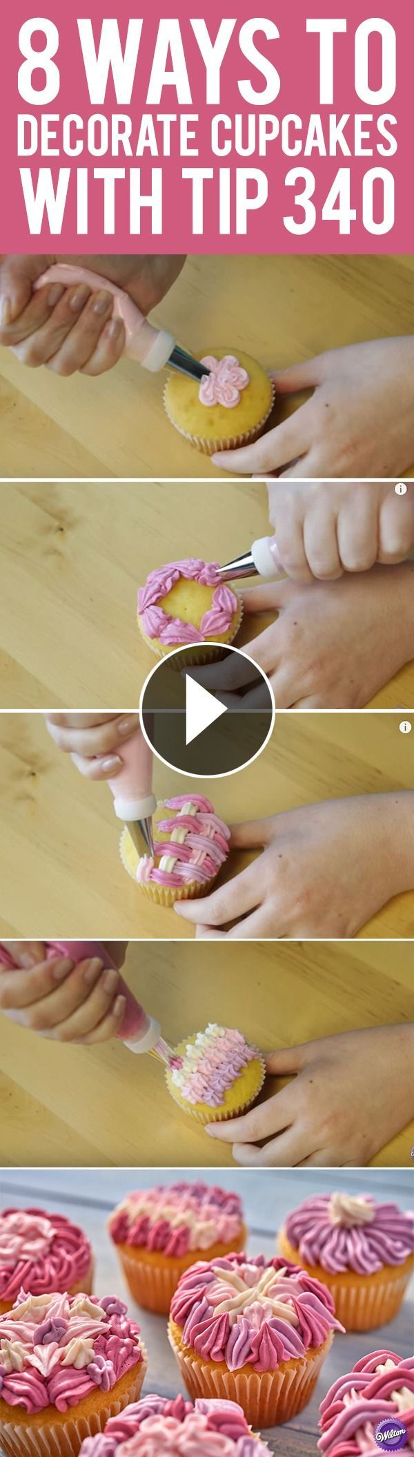 Learn eight ways to decorate cupcakes using the Wilton decorating tip 340. Often used to pipe ruffles and zig-zags, tip 340 is great for decorating borders, flowers, shells and more on cakes and cupcakes. #GreatdecoratingTips