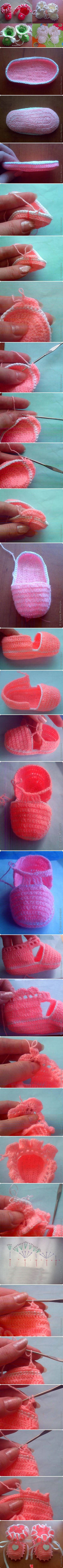 Cute baby bootie pattern photo tutorial, but not sure I could make it without better instructions for the pattern...but they sure are cute