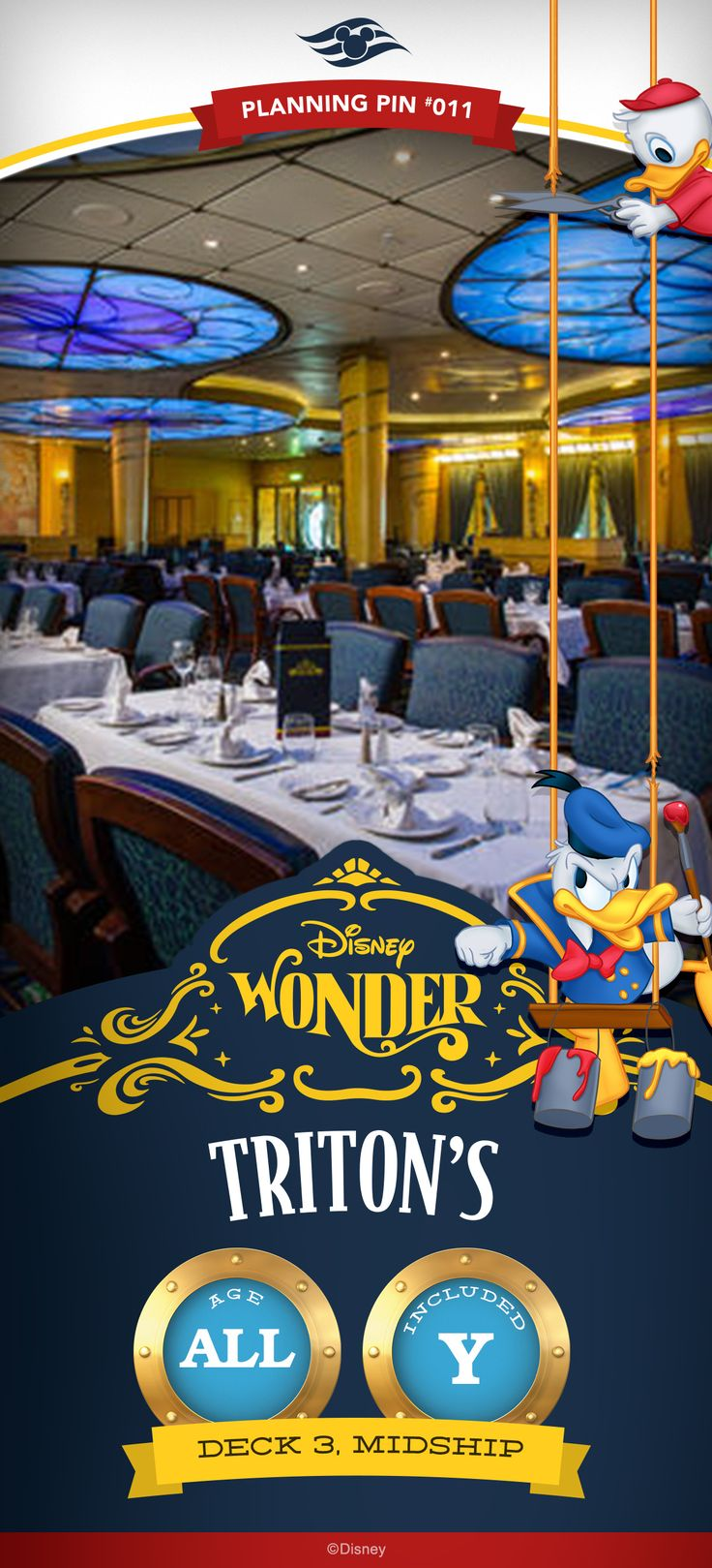 """Named after the Little Mermaid's father, Triton's is an upscale restaurant offering fine dining """"under the sea."""" avor classic American cooking for breakfast and lunch and continental cuisine with a French flair for dinner. Click to learn more about this Disney Cruise Line restaurant"""