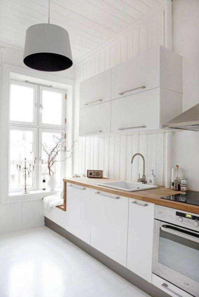 23 schöne weiße skandinavische Küchenentwürfe
