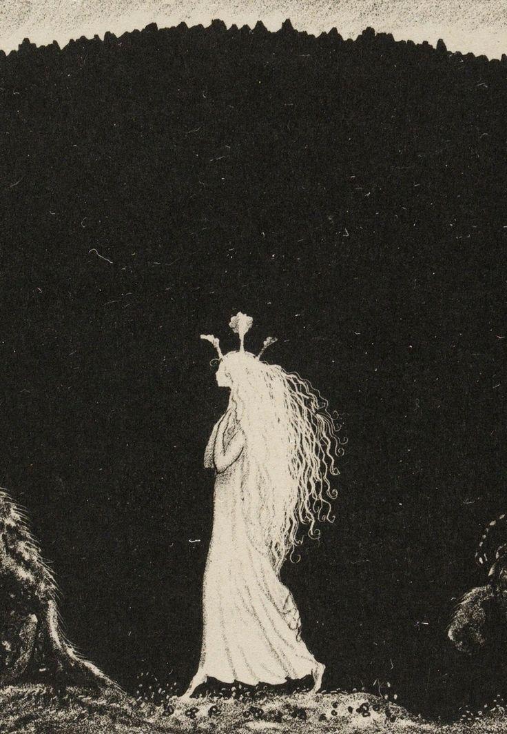John Bauer (Swedish, 1882-1918, b. Jönköping, Sweden) - Princess Tuvstarr, Trollens Styfdotter (detail), 1915 Lithograph