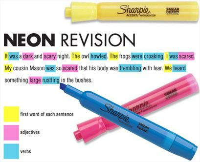 "Many kids don't know what or where to mark when reading another student's work. Neon revision is an approach that can really help. From ""5 Peer Editing and Revising Strategies That Really Work."""