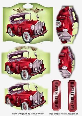 Red vintage car on a plaque bracket pyramids on Craftsuprint - Add To Basket!
