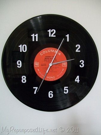 how to make a clock out of an old LP record