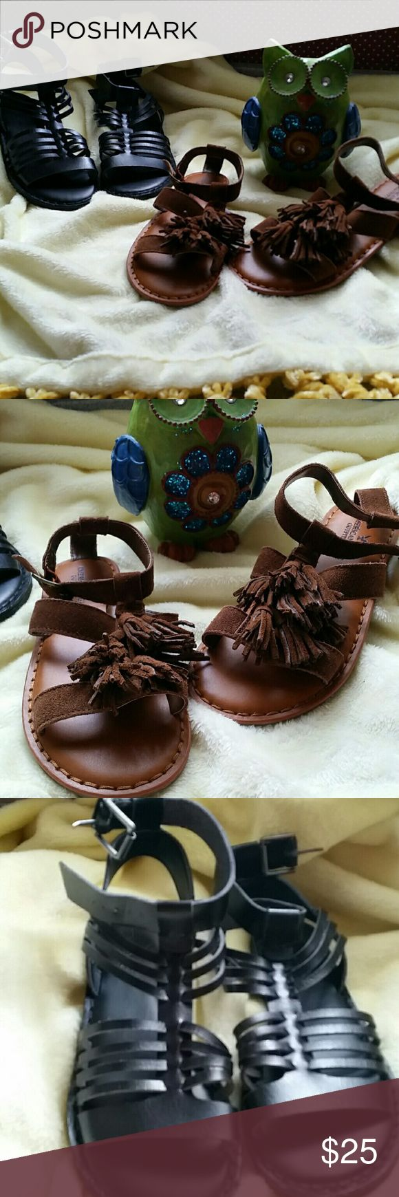 American Eagle Outfitters Sandals 2 for 25$  American Eagle Sandals Size 6...NWOT.  Brown Fringe and a black gladiator style...Sold as a set for 25.00 or best offer to move forward enjoy American Eagle Outfitters Shoes Sandals