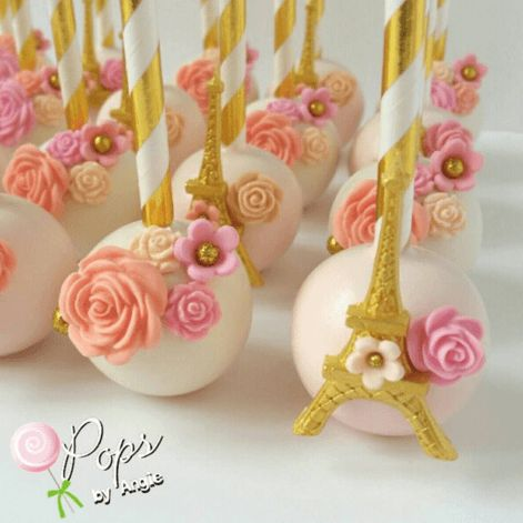 Wow stunning statement cake pops. Paris French wedding flowers