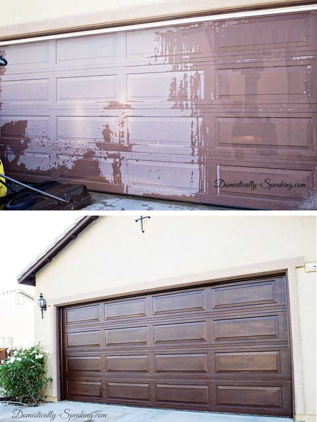 Overhaul your faded garage door by coating it with gel stain. | 31 DIY Projects That Will Make Your House Look Amazing