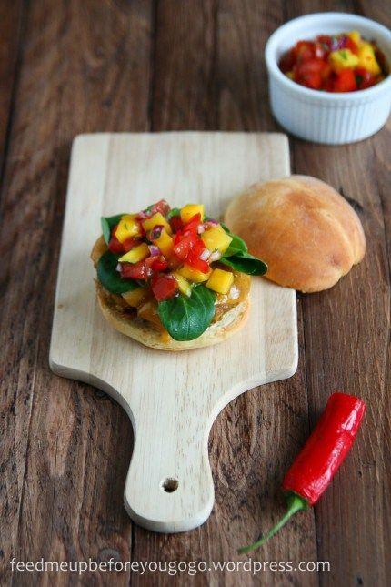 Veggie burger with mango-cilantro salsa // feed me up before you go-go