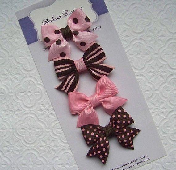Conjunto rosa y marrón arco Petite por Balasadesigns en Etsy