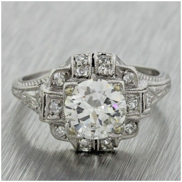 Pre-owned Platinum & 1.62ct Diamond Engagement Ring (708015 RSD) ❤ liked on Polyvore featuring jewelry, rings, art deco rings, diamond rings, pre owned engagement rings, engagement rings and diamond engagement rings