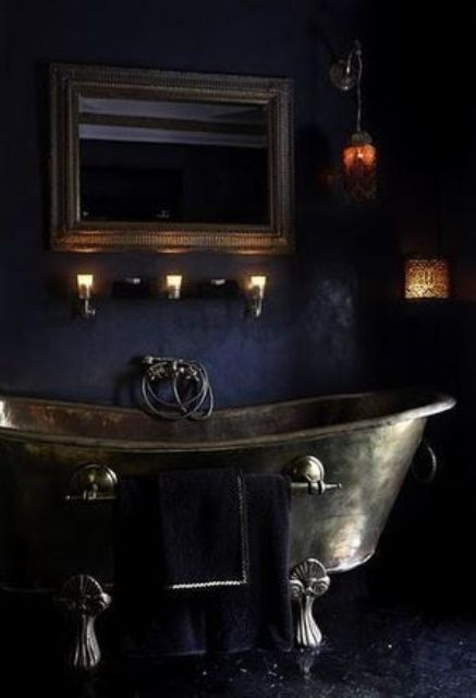 """22 Dramatic Gothic Bathroom Designs Ideas -- ...A gothic bathroom is not necessarily a black one, it may be with purple and red touches, the main thing is the atmosphere to achieve – a little bit gloomy, sometimes spooky but very refined and decadent."" Check out incredible Gothic fixtures here: http://rebloggy.com/post/home-decor-bathroom-gothic-posh-toilet-tub-zink-dark-decor-black-furniture-goth/75112028639"