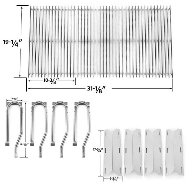 Jenn Air 720-0337, 7200337, 720 0337 Repair Kit for BBQ Gas Grill Includes 4 Stainless Burners, 4 Stainless Heat Plates and Stainless Steel Grates