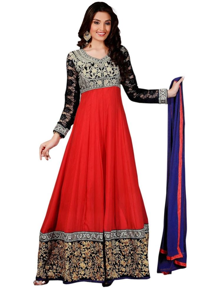Angelic #red color ankle length Georgette #Anarkali #suit. Item Code: SLMG501