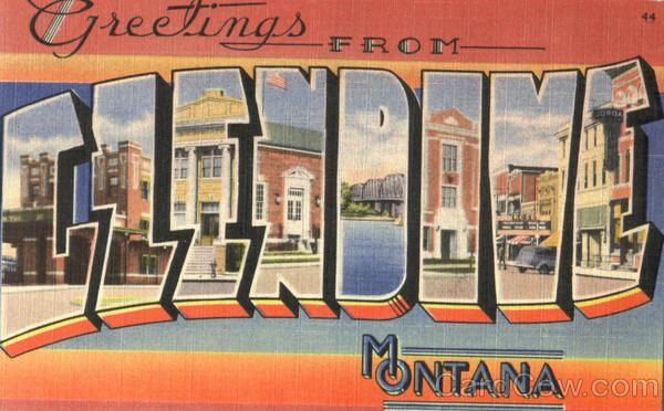 Greetings From Glendive Montana Large Letter
