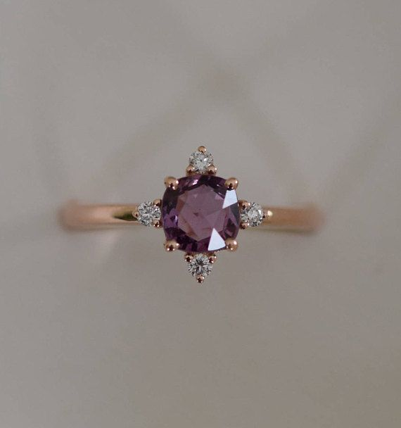 Purple sapphire engagement ring. Promise ring. Cushion engagement ring. 5 stone ring. Rose gold engagement ring. Gemstone ring Eidelprecious – Evelina Krumm