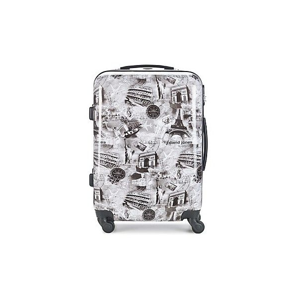 David Jones GUASSOUM 53L Hard Suitcase ($89) ❤ liked on Polyvore featuring bags, luggage and grey