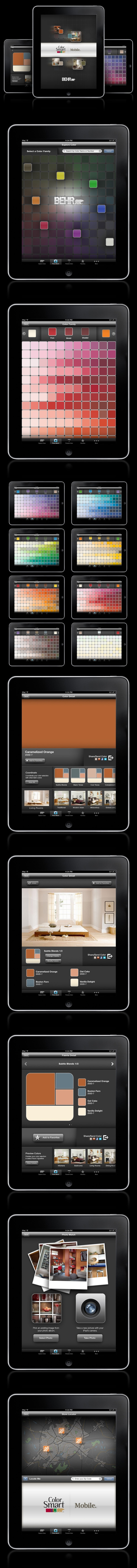 BEHR ColorSmart iPad App - Get inspired! ColorSmart by BEHR™ is now available for your iPhone® and iPad®. Designed with all of the same great features found in our online version, ColorSmart by BEHR™ Mobile is an easy and convenient way to find, coordinate or preview a BEHR® paint color for all of your paint projects. #mobile #app #tablet #digital