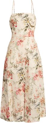 Zimmermann's cream cotton and linen-blend Mercer dress is beautifully cut with dainty shoulder straps that criss-cross and tie at the open back. It's printed with sun-faded florals and falls into a midi-length skirt with a high slit at the front. Wear it with gold sandals on vacation adding bold jewelry as the sun sets.  #gorgeous #fashion #afflink #dresses