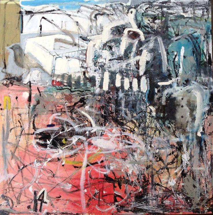 Oil and acrylic on canvas 'Hunger Strike' 2014 100cmx100cm