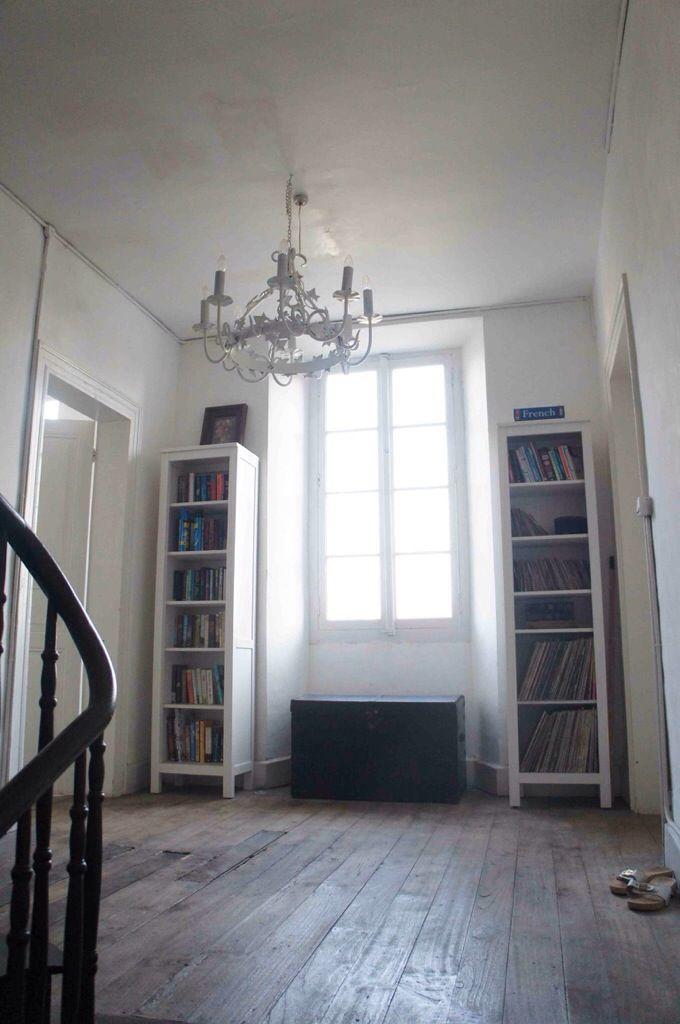 Ikea Hemnes bookshelves, French hallway, staircase