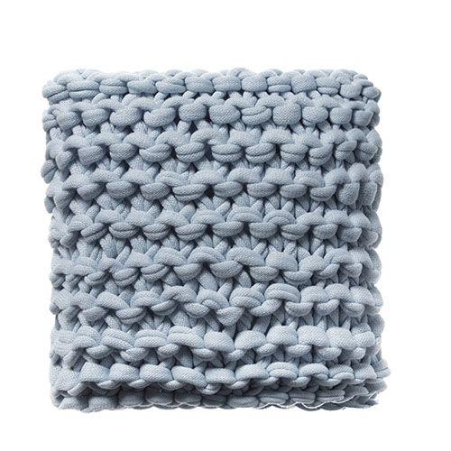 Pale Blue Chunky Knit Cushion