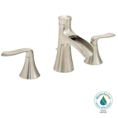 2handle bathroom faucet in brushed nickel with