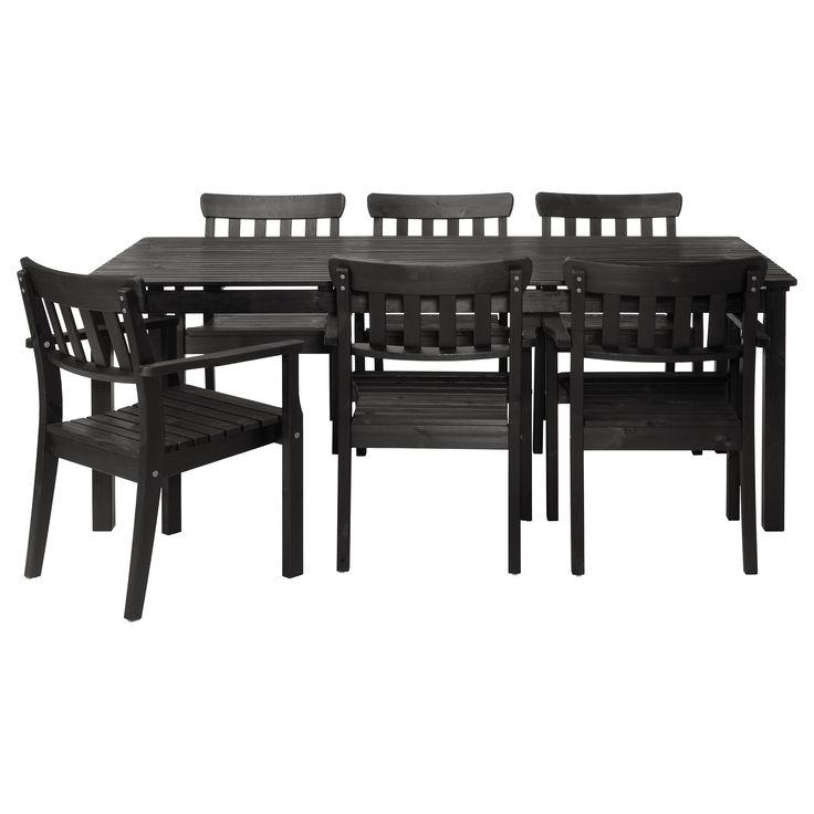 ÄNGSÖ Table and 6 armchairs - black-brown - IKEA