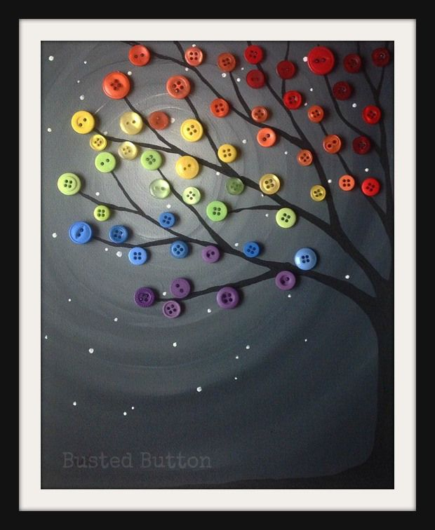 Rainbow Night Button Tree Painting  Autism fundraiser auction!