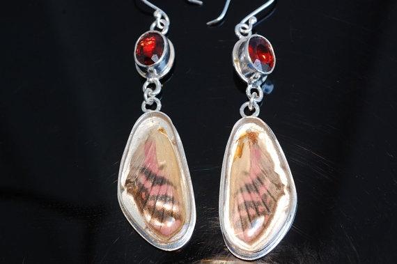 Real Butterfly wing earrings with garnet by NicoleThomasJewelry, $89.00