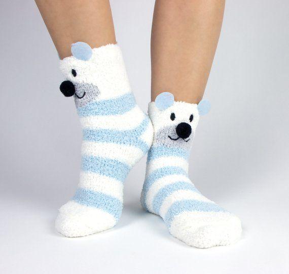 Polar Bear And Snowflake Fuzzy Socks With Pom Poms Boxed Gift Set Fuzzy Socks Fluffy Socks Socks